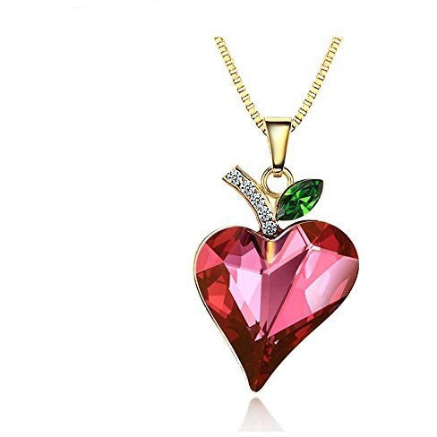 14k Gold Plated Red Swarovski Crystal Love Heart Necklace - Mee-Mii