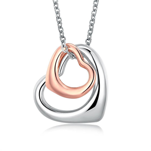 Platinum Rose Gold Plated Double Heart Jewelry Necklace - Mee-Mii