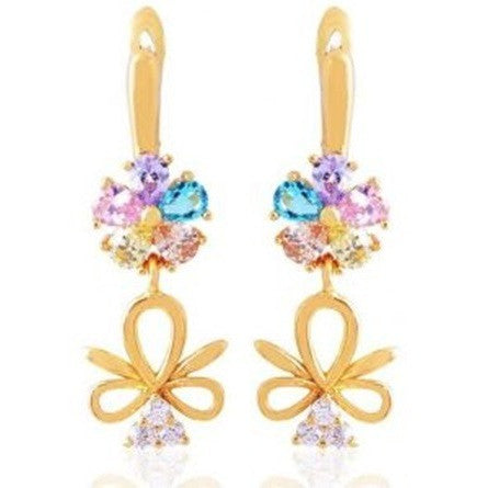 Pretty Crystal Flower Dangle Gold Plated Earrings - Mee-Mii
