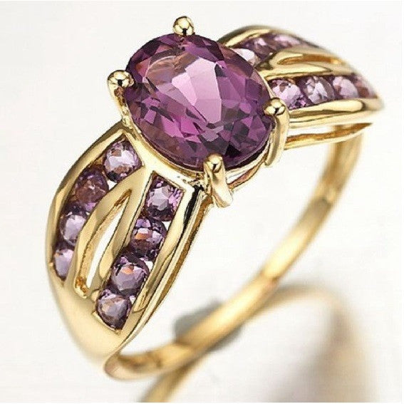 Purple Amethyst 10K Gold Filled Solitaire Fancy Ring - Mee-Mii