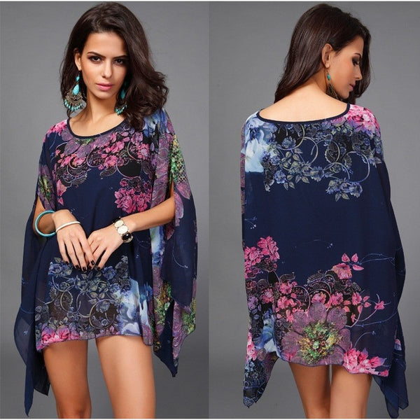 Floral Print Batwing Sleeve Chiffon Blouses Tops