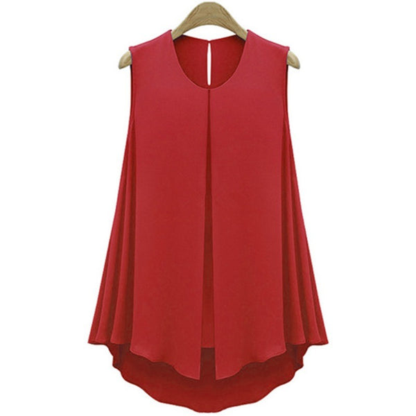 Chiffon Sleeveless O-neck Ruffles Red Blouses