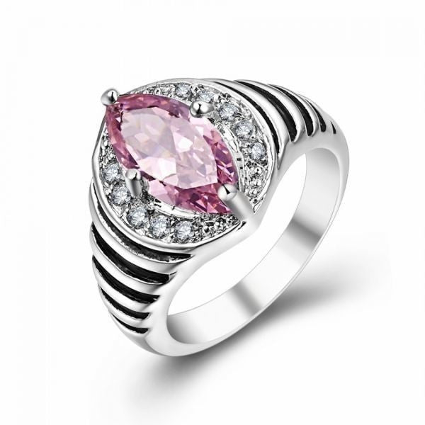 Stamped 925 Sterling Silver Ring with Pink Quartz - Mee-Mii