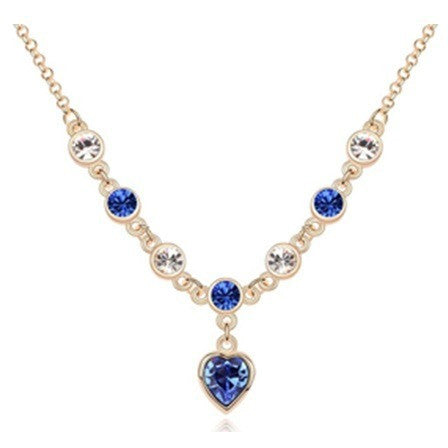 Yellow Dark BLUE CZ Necklace Heart Pendant