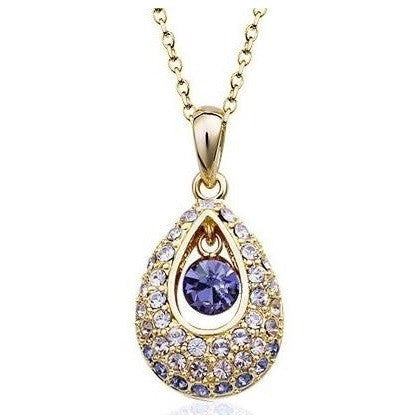 Purple Angel tears Womens Gold Plated CZ  Necklace