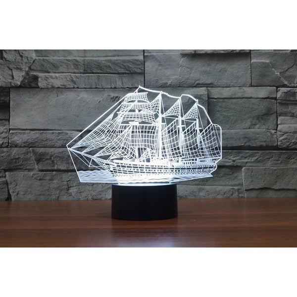 Hot NEW 7color changing 3D Bulbing Light NauticExpo sailer visual illusion LED lamp creative  gift