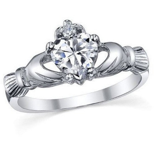 10 kt White Gold Filled Crowned Heart Simulated Diamond Claddagh Ring in the style of Victoria Wieck - Mee-Mii