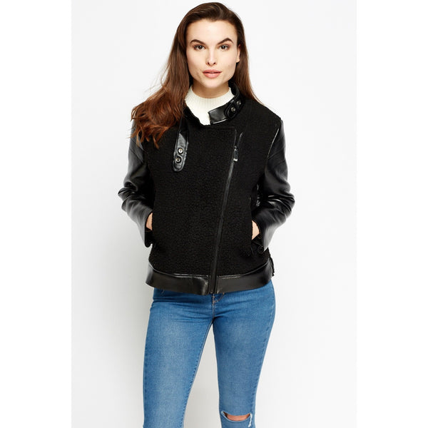 Contrast Faux Leather Trim Jacket - Mee-Mii