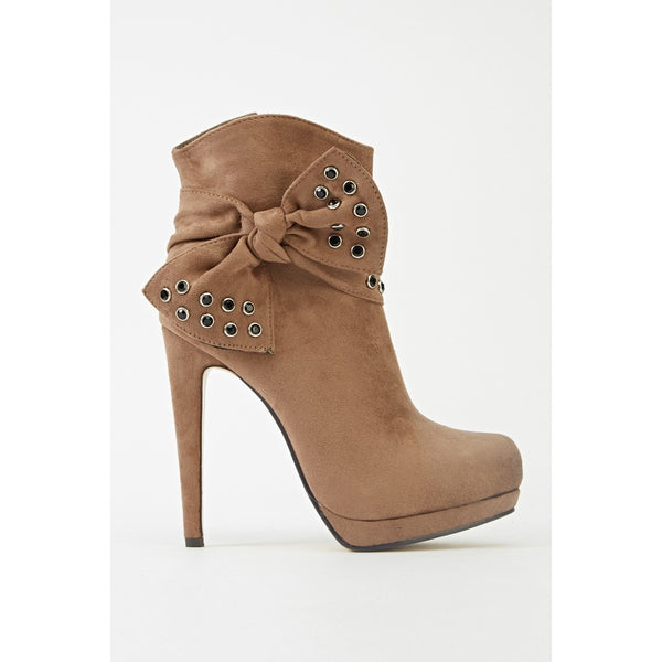 Encrusted Bow Heeled Ankle Boots - Mee-Mii
