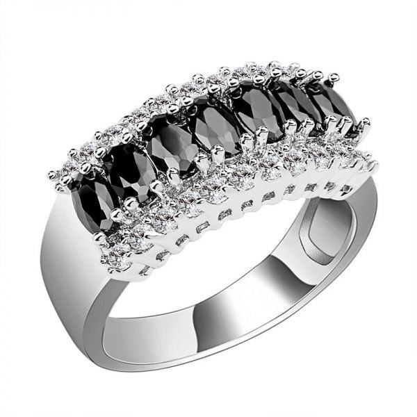10K White Gold Filled With Black Sapphire Stones Ring - Mee-Mii