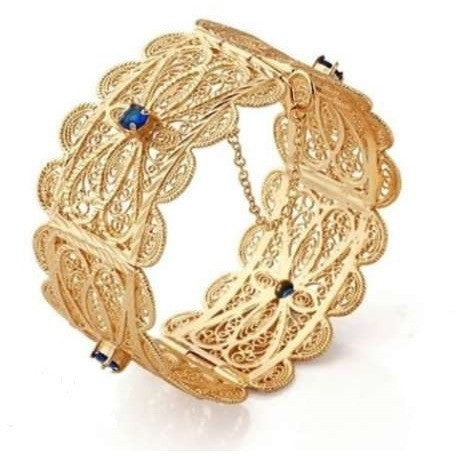 Bracelet Bangle Oriental Gold Filled 14k sapphire