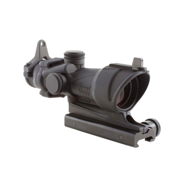 Trijicon ACOG 4x32 Scope, Amber Center Illumination for M4A1 – includes Flat Top Adapter, Backup Iron Sights and Dust Cover