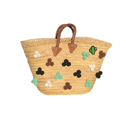 Green, Black & brown - Wicker bag