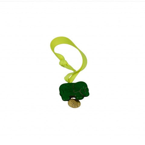 Green Elephant & Gold Coin Bag Charm
