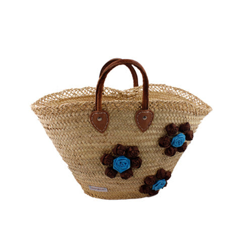 Brown & Blue Flower Wicker Bag