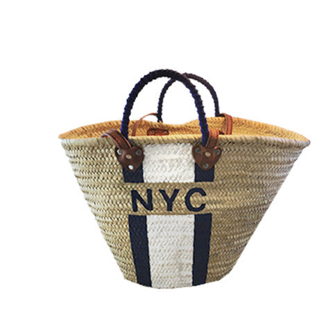 Blue & White NYC Wicker Bag