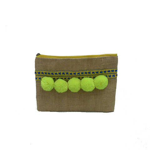 Yellow Pompom Clutch
