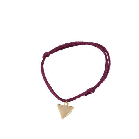 Purple Leather Gold Triangle