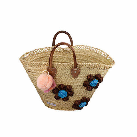 Blue and Brown Flowers - Wicker bag Stylepack