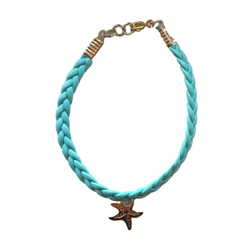 Turquoise Leather Gold Star