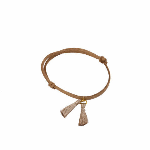 Brown Leather Gold Tassel