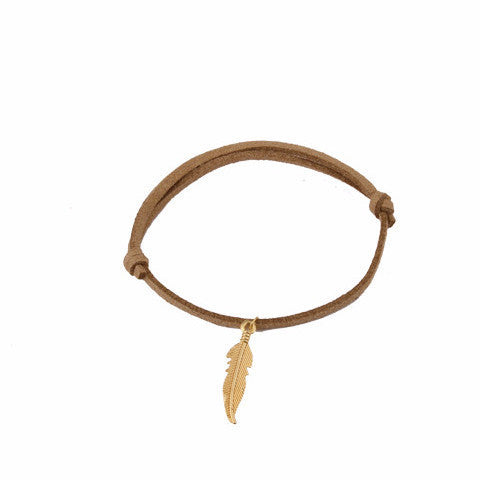 Brown Leather Gold Feather