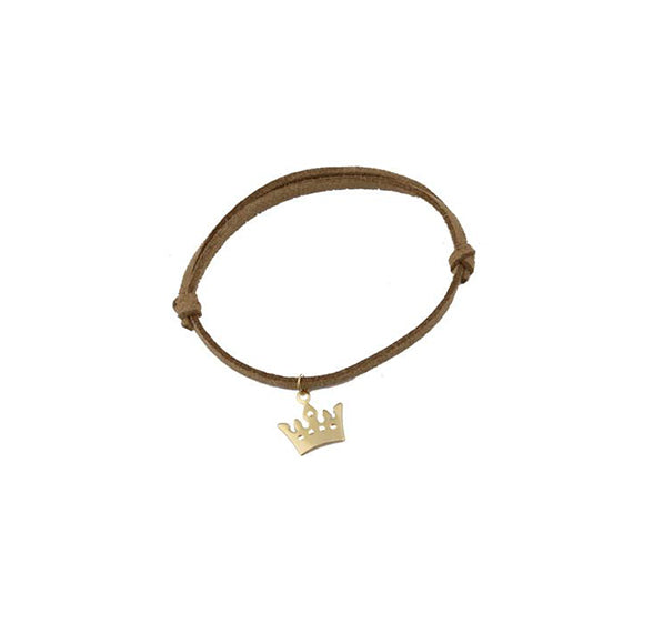 Brown Leather Gold Crown