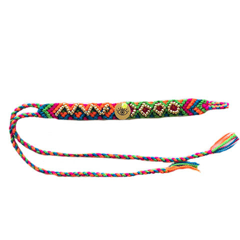 Blue, Green, Pink, and Orange Eye Wayuu Bracelet