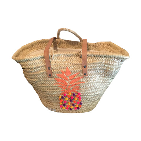Mixed Pineapple Pom Pom Wicker Bag With Zipper