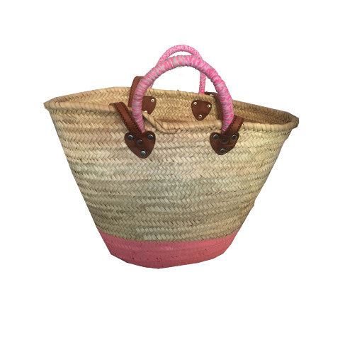 Pink Handle Wicker Bag