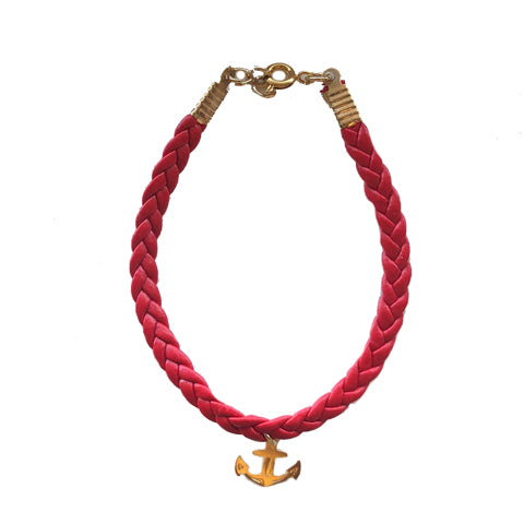 Red Leather Gold Anchor