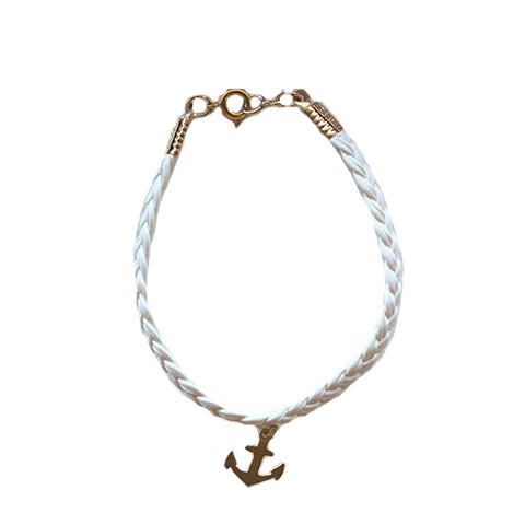 White Leather Gold Anchor