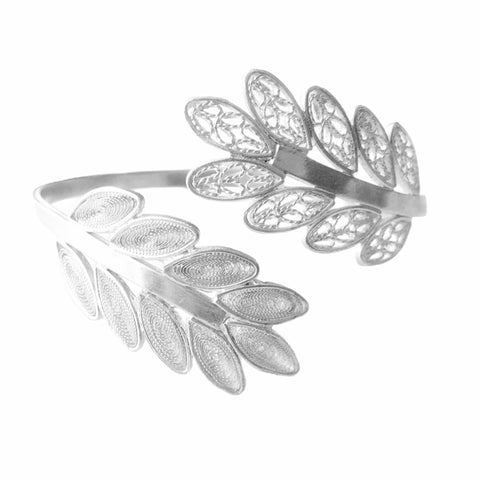 Mix Closed Open Leaves Filigree Cuff Bracelet