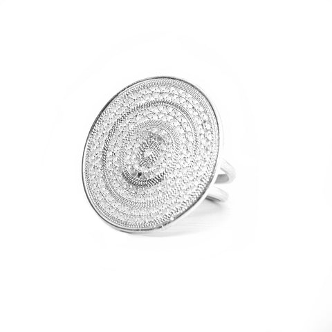 Ñanduti Double Circle Filigree Statement Ring