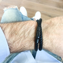 All Black Leather Bracelet - Double Strap