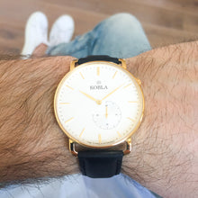 Golden Case / White Dial / Black Leather