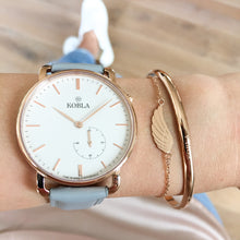 Rose Golden Case / White Dial / Grey Leather