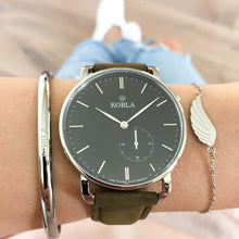 Silver Case / Black Dial / Khaki Suede Leather