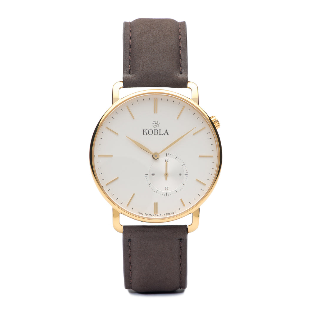 Golden Case / White Dial / Brown Leather
