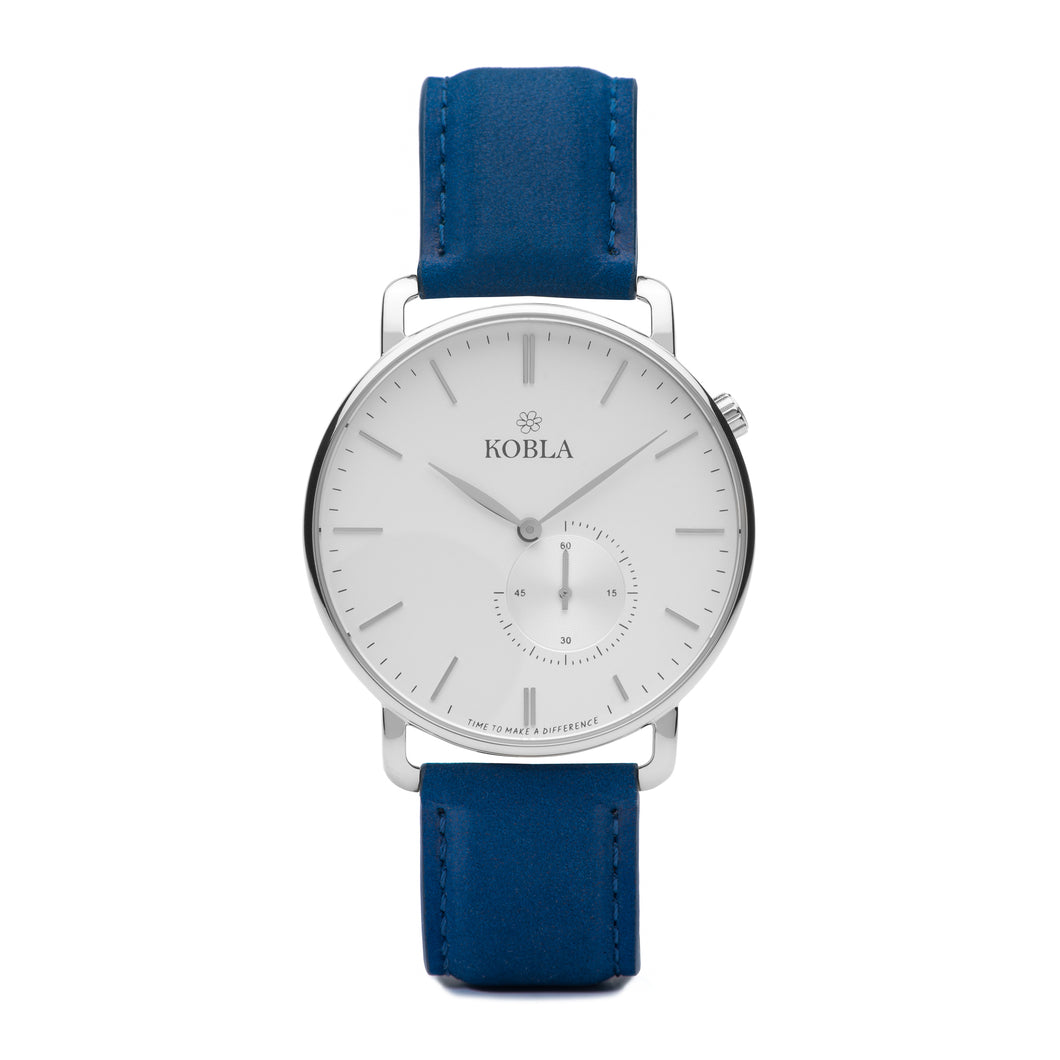 Silver Case / White Dial / Blue Suede Leather