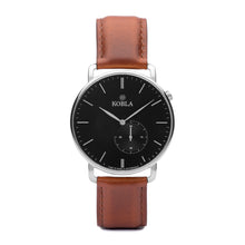 Silver Case / Black Dial / Brandy Leather