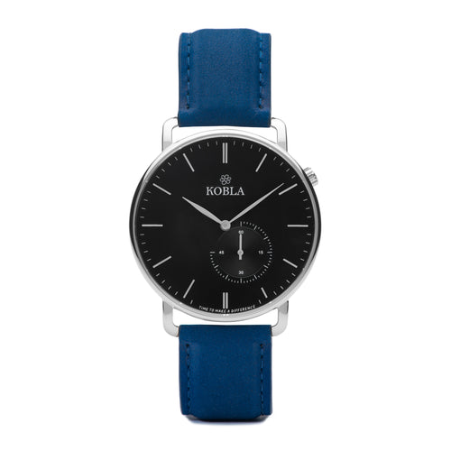 Silver Case / Black Dial / Blue Suede Leather