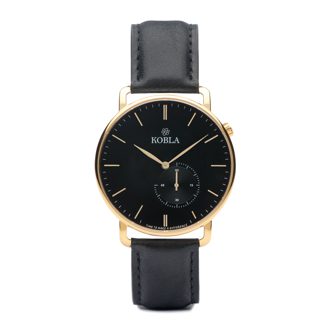Golden Case / Black Dial / Black Leather