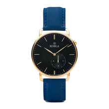 Golden Case / Black Dial / Blue Suede Leather
