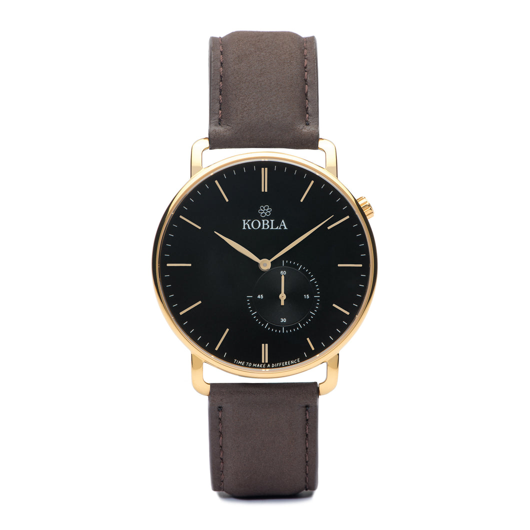 Golden Case / Black Dial / Brown Leather