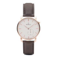 Rose Golden Case / White Dial / Brown Leather