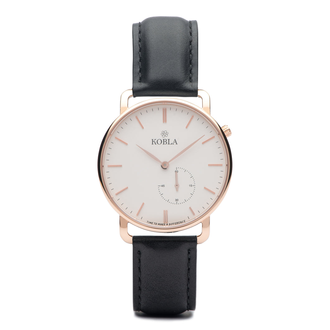 Rose Golden Case / White Dial / Black Leather
