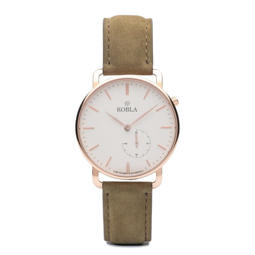 Rose Golden Case / White Dial / Khaki Suede Leather