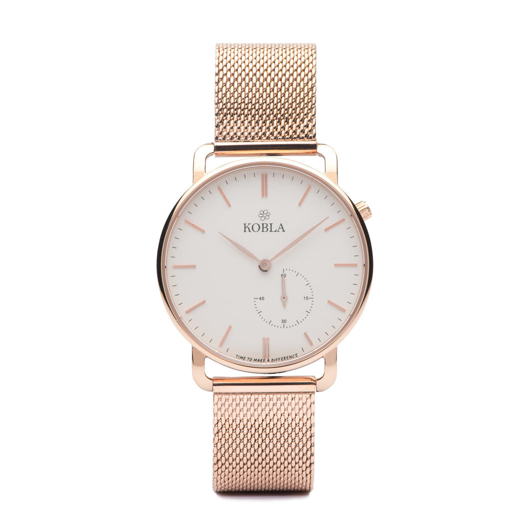 Rose Golden Case / White Dial / Rose Gold Mesh