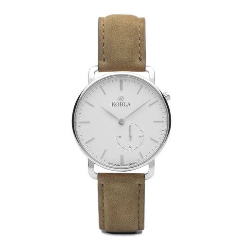 Silver Case / White Dial / Khaki Suede Leather